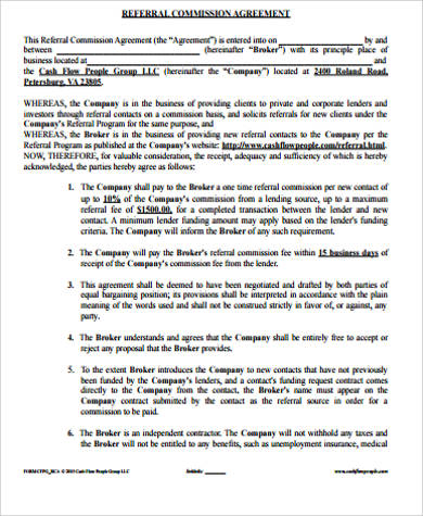 Referral Commission Agreement for Commission Agreement