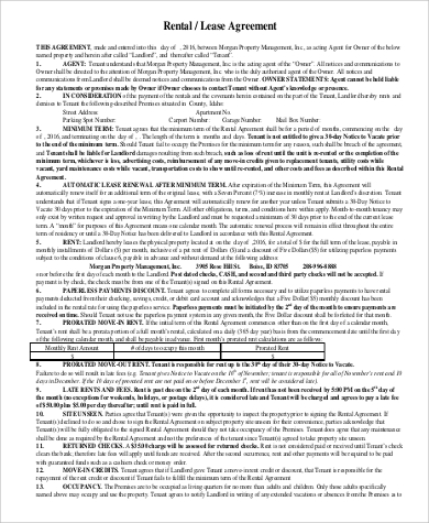 Rental Lease Agreement for Agreement In Pdf