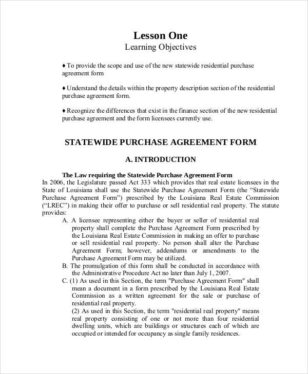 Residential Buy Sell Agreement for Printable Agreement
