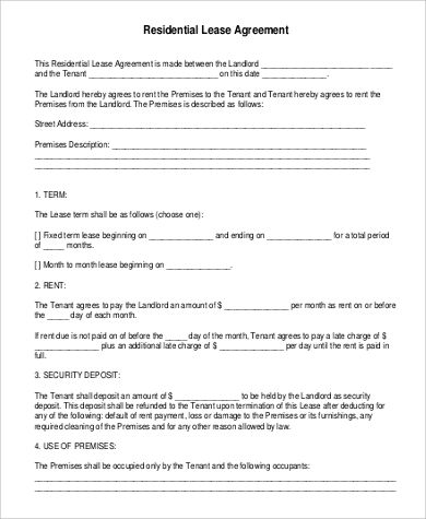 Residential Lease Agreement for Agreement In Pdf