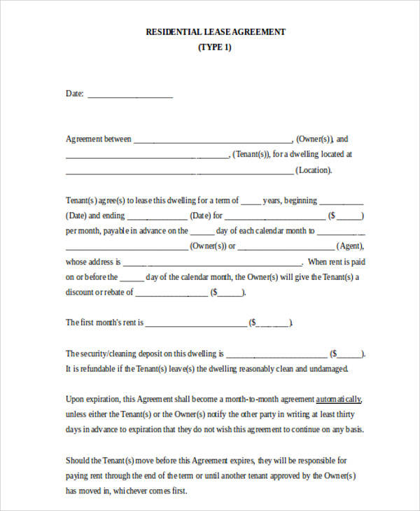 Residential Lease Agreement for Agreement In Word