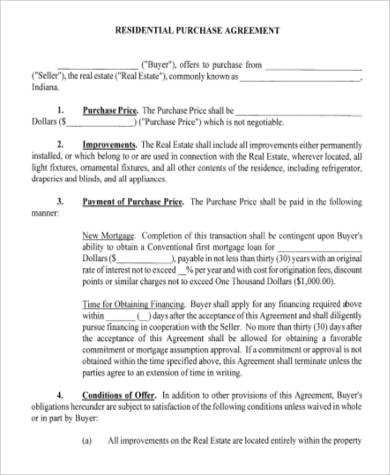 Residential Purchase Agreement for Agreement In Pdf