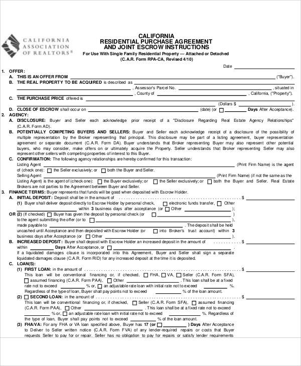 Residential Purchase Agreement for Printable Agreement