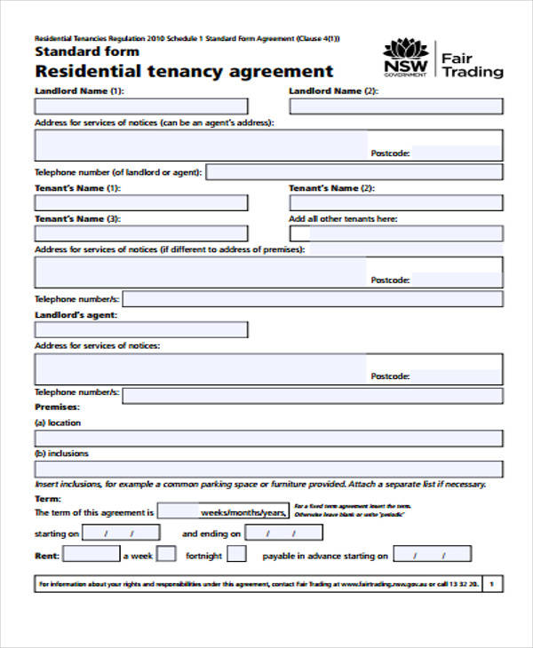 Residential Tenancy Agreement for Free Sample Agreements