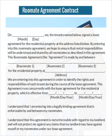 Roommate Agreement Contract for Agreement In Pdf
