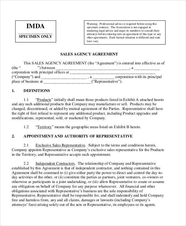 Sales Agency Agreement for Sample Agreements