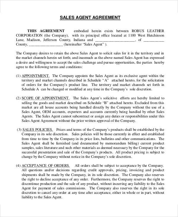 Sales Agent Agreement for Printable Agreement