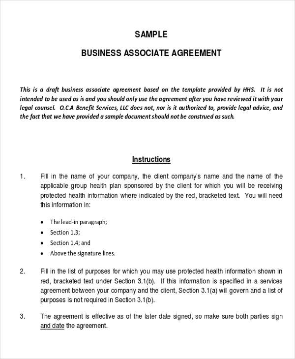 Sample Business Associate Agreement Form for Business Agreement Form