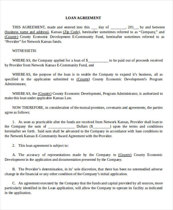 Sample Business Loan Agreement Form for Business Agreement Form