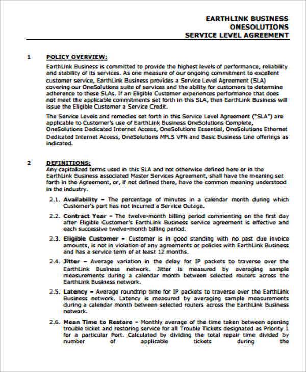 Sample Business Service Level Agreement for Business Service Level Agreement
