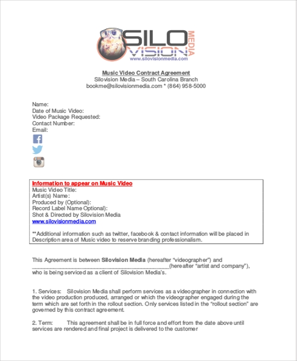 Sample Music Video Agreement Contract for Music Agreement Contract
