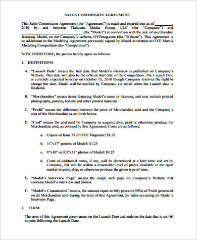 Sample Sales Commission Agreement for Commission Agreement
