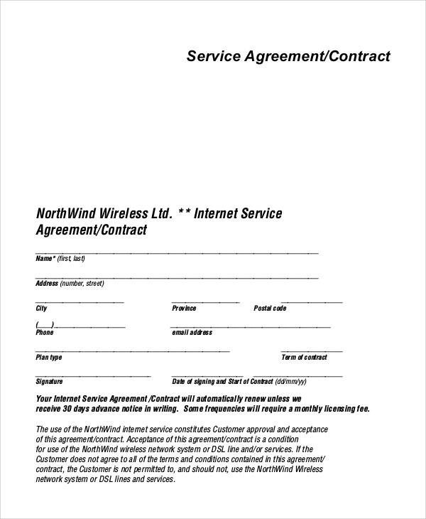 Service Agreement Contract for Printable Agreement