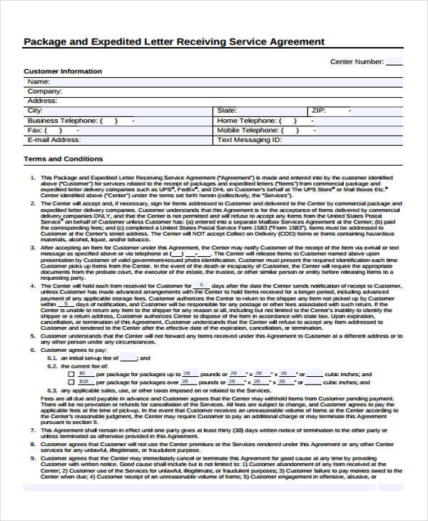 Service Agreement Letter for Free Sample Agreements