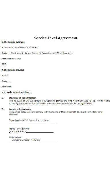 Service Level Agreement in MS Word