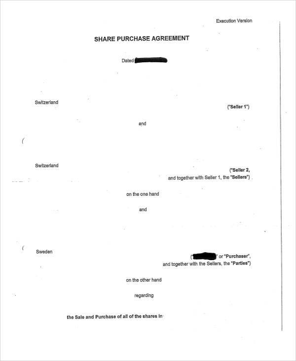 Share Purchase Agreement for Printable Agreement