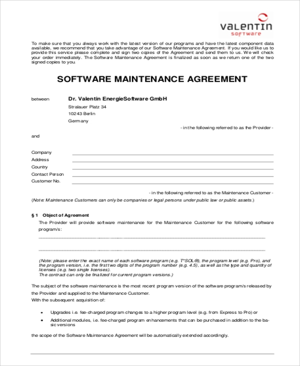 Software Maintenance Contract Agreement for Maintenance Contract Agreement