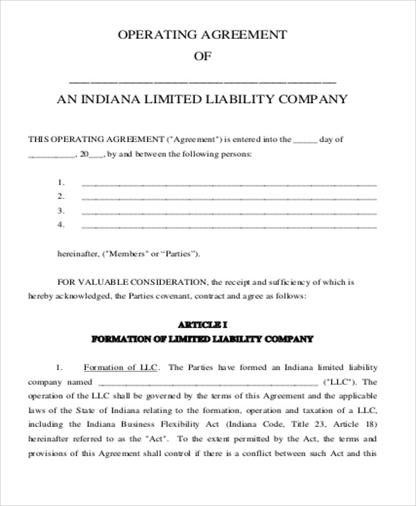 Standard Business Operating Agreement for Business Operating Agreement
