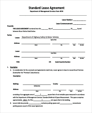 Standard Lease Agreement for Agreement In Pdf