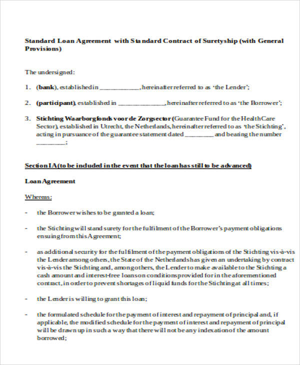 Standard Loan Agreement for Agreement In Word