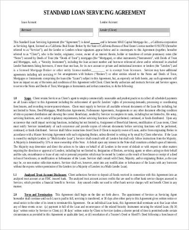 Standard Loan Service Agreement for Agreement In Pdf