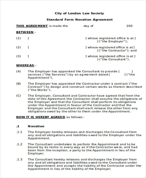 Standard Novation Agreement for Agreement In Word