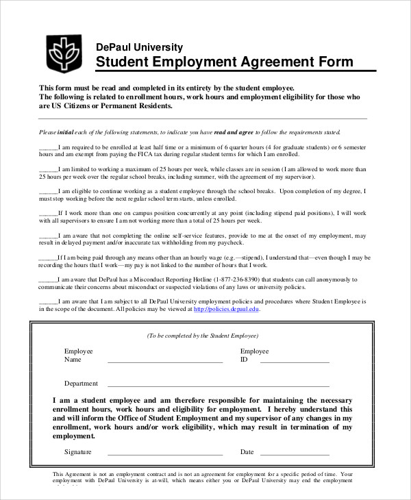 Student Employment Agreement Contract for Student Agreement Contract