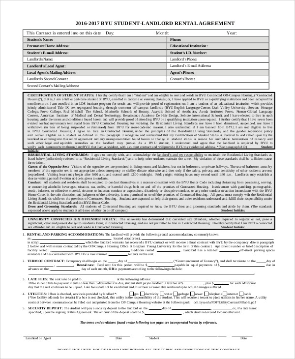 Student Rental Agreement Contract for Student Agreement Contract