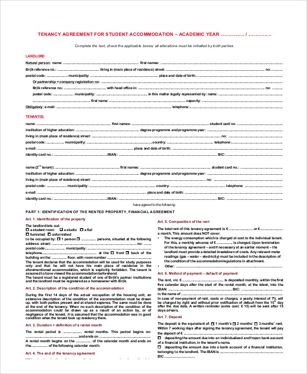 Student Tenancy Agreement Contract for Student Agreement Contract