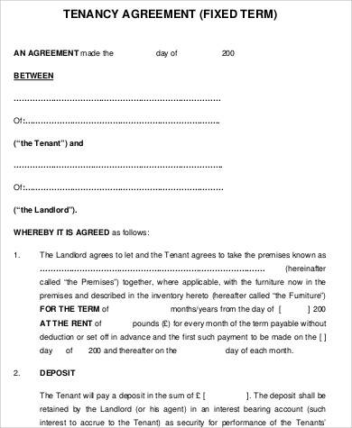 Tenancy fixed term Agreement for Printable Agreement