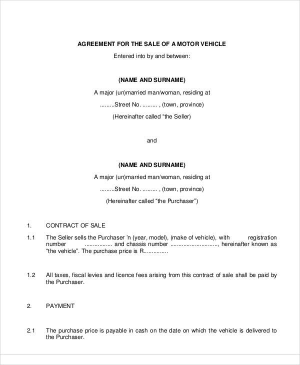 Vehicle Sales Agreement for Printable Agreement