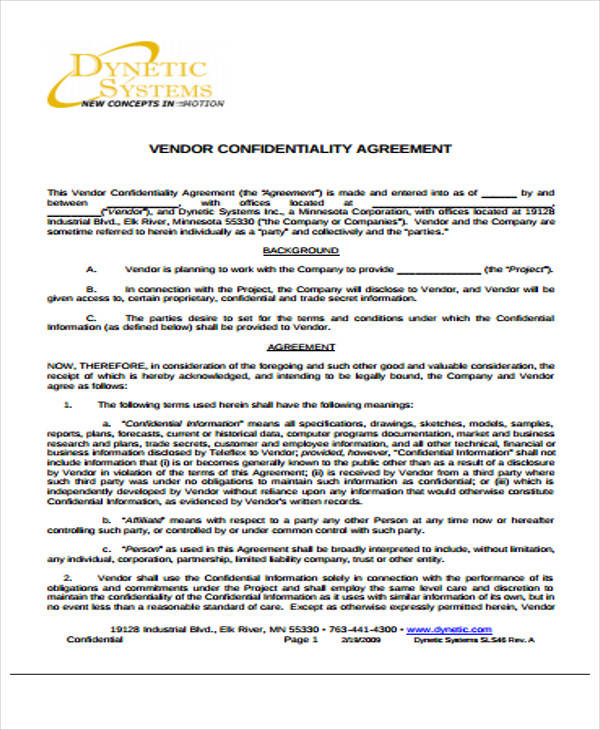 Vendor Confidentiality Agreement for Free Sample Agreements