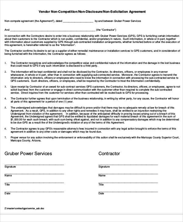 Vendor Non Compete Agreement for Printable Agreement