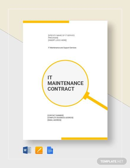 it maintenace contract for Maintenance Contract Agreement