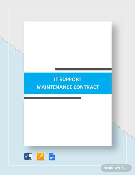 it support maintenance contract for Maintenance Contract Agreement