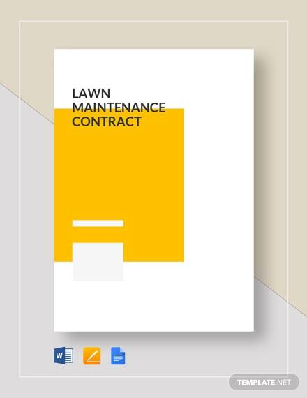 lawn maintainence contract for Maintenance Contract Agreement