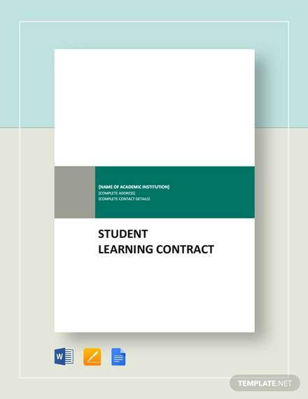 student learning contract for Student Agreement Contract